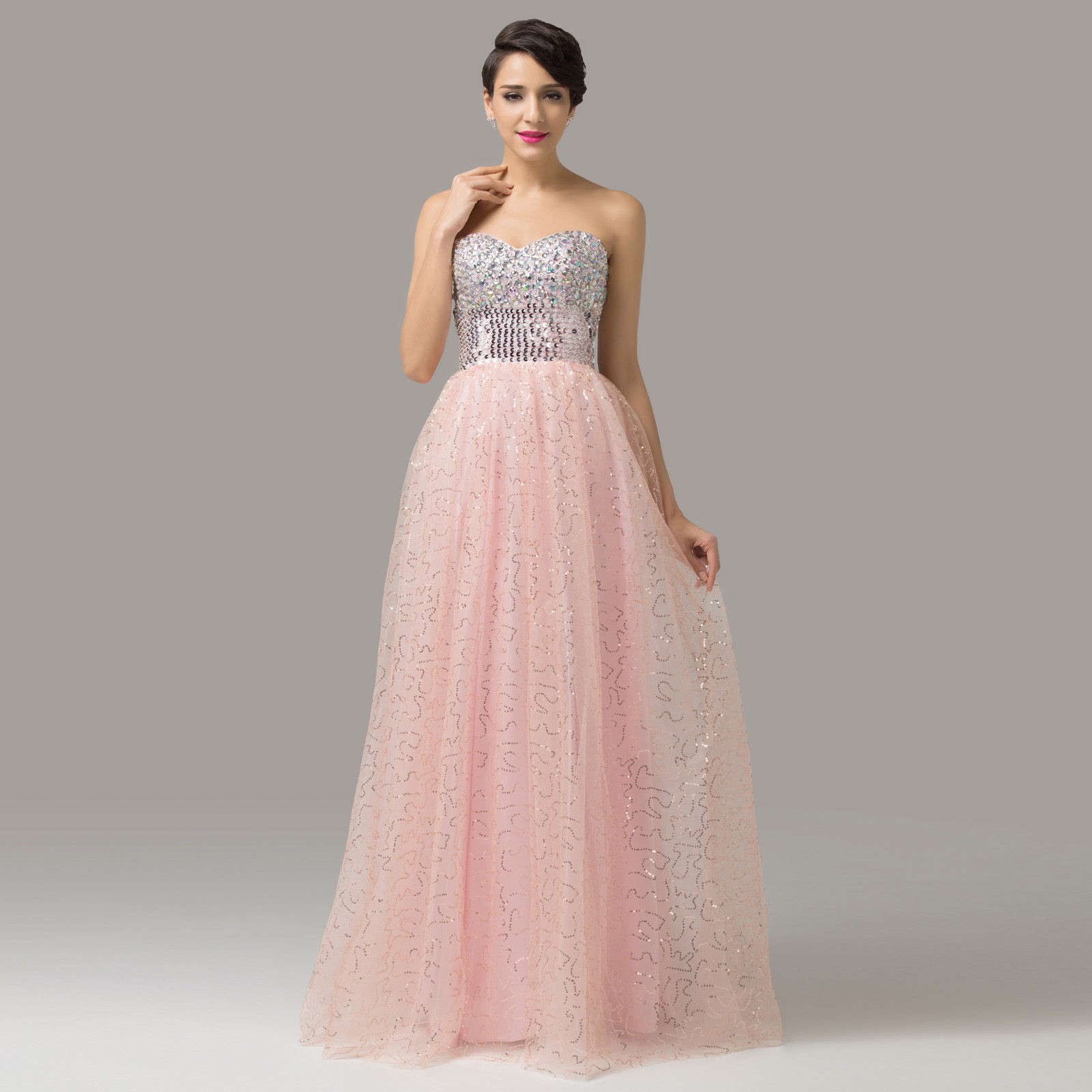 luxusní plesové růžové šaty Cher flitrované XS-S - Hollywood Style E-Shop -  plesové a svatební šaty d3265dc870
