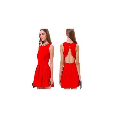 a3d1fbc22d31 krátké červené společenské šaty s otevřenými zády M-L - Hollywood ...