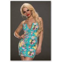 krátké modré květované společenské šaty na zip Heather S-M 0179d136b9