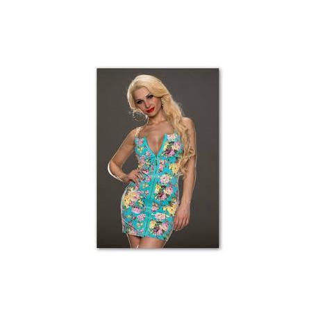f93db7c4c Sleva! krátké modré květované společenské šaty na zip Heather S-M
