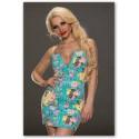 krátké modré květované společenské šaty na zip Heather S-M