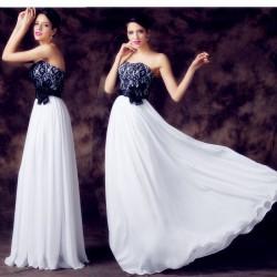 luxusní černo-bílé společenské šaty s krajkou Evita  L-XL