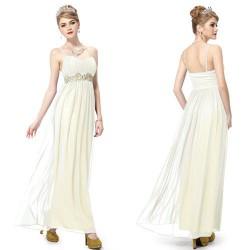 dlouhé krémové společenské svatební šaty XXL