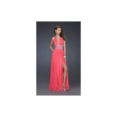 luxusní dlouhé lososové plesové šaty Veronica  L