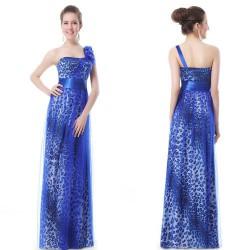 safírové tmavě modré společenské šaty tygrované na jedno rameno M