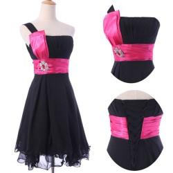 krátké černé společenské šaty koktejlky na jedno rameno XXXL-XXXXL