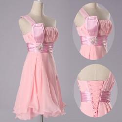 krátké růžové společenské šaty koktejlky na jedno rameno L-XL ae13f8d1f7