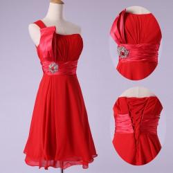 krátké červené společenské šaty koktejlky na jedno rameno  XL-XXL