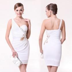 3804106a318 překrásné krátké bílé společenské šaty na jedno rameno M