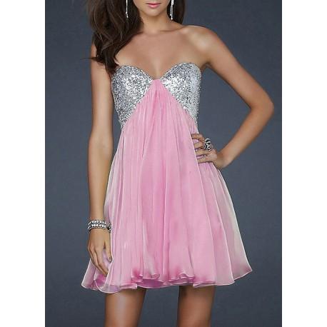 krátké růžové společenské šaty s flitry S-M