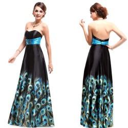 překrásné barevné dlouhé společenské šaty s pavími oky Adele S