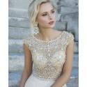 luxusní svatební nebo plesové antické krémové šaty vyšívané Meira  M