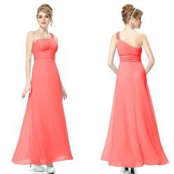 luxusní dlouhé společenské lososové šaty Luna S