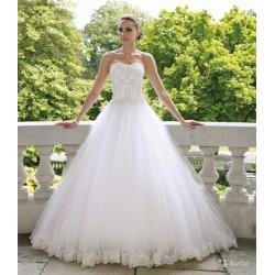 tylové svatební šaty bílé s krajkovými aplikacemi Lydia S-M