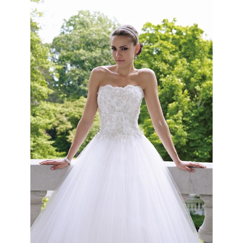 tylové svatební šaty bílé s krajkovými aplikacemi Lydia S-M ... ca146572dab