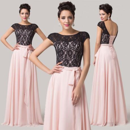 6097c0155e58 dlouhé růžovo-černé jednoduché plesové šaty s krajkou Fernanda L-XL ...