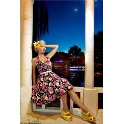 krátké retro rockabilly vintage květované šaty Vivien M-L
