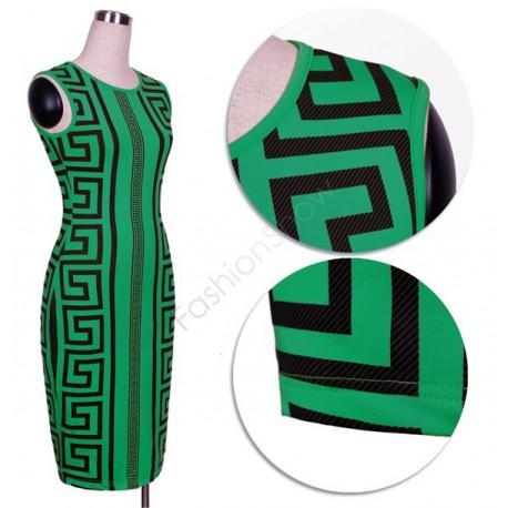 zelené společenské šaty s geometrickými vzory Lydia S-M