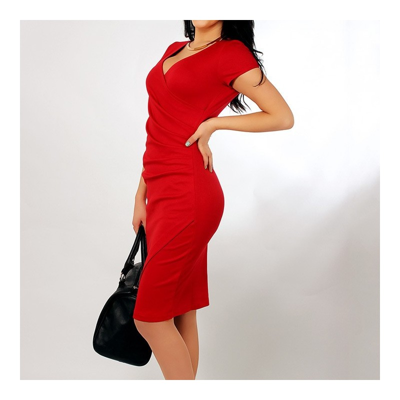 jednoduché krátké společenské šaty červené M-L 33555d2129