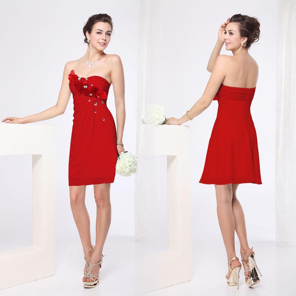 krátké červené společenské šaty koktejlky Tissie L 78b89ca229