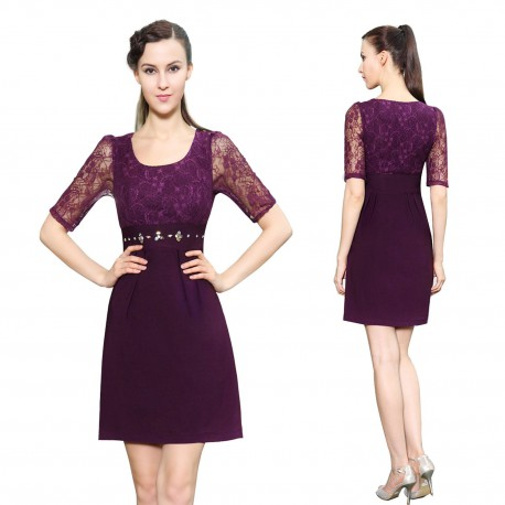 krátké společenské fialové šaty s 3/4 rukávky L