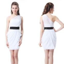 klasické krátké černo-bílé společenské šaty na jedno rameno L