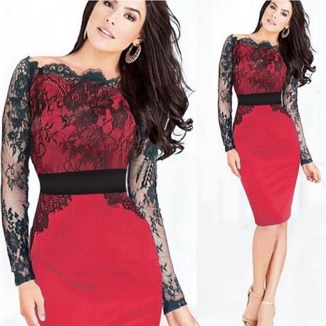 aa852dbe555 luxusní krátké červené společenské šaty do kanceláře S