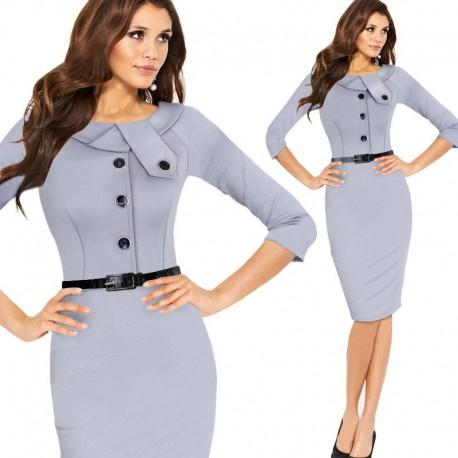 27ef1d685b3 krátké klasické šedivé společenské šaty pouzdrové L-XL - Hollywood ...