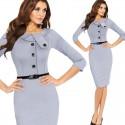 krátké klasické šedivé společenské šaty pouzdrové L-XL