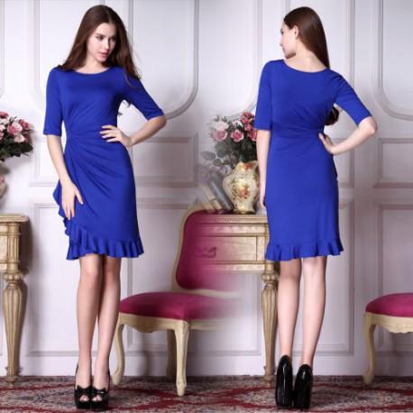 krátké safírové modré společenské šaty s rukávy Dita L