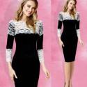 krátké černé společenské šaty s bílou krajkou L