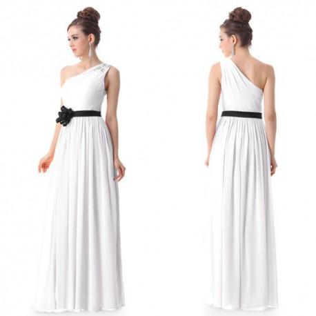 Antické bílé společenské nebo svatební šaty na jedno rameno 6d8dac5657