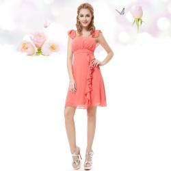 krátké společenské šaty lososové Jolanda L, XL