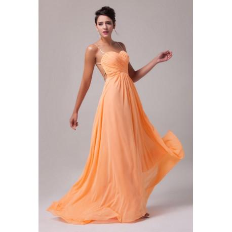 oranžové plesové společenské šaty s holými zády XS-M