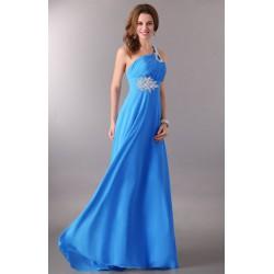 dlouhé antické společenské plesové modré šaty na jedno rameno Donna XS-M