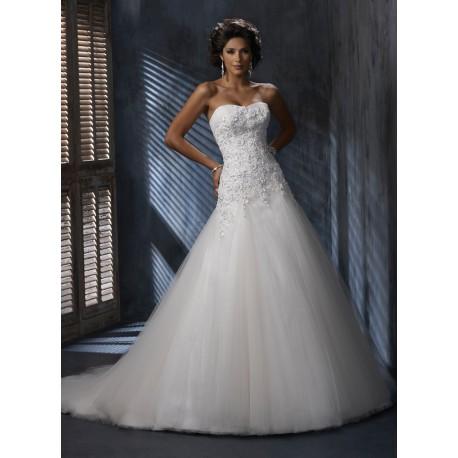 luxusní svatební šaty tylové bílé Lerona XS-S