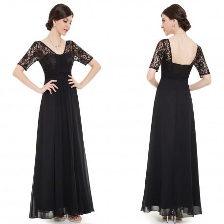 dlouhé černé společenské šaty jednoduché s rukávky S