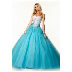 luxusní modré plesové šaty na maturitní ples Victoria XS-S