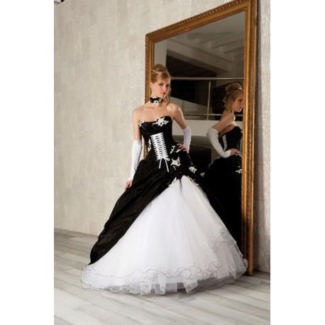 černo-bílé svatební nebo plesové šaty Vilma XL-XXL