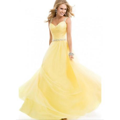 luxusní žluté plesové společenské šaty na maturitní ples Laura M ... 74ac43f4fb4