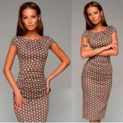 krátké hnědé puntíkaté společenské šaty  XL