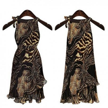 krátké letní společenské šaty leopardí XXL