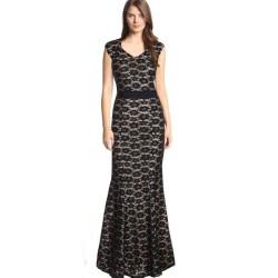 luxusní černé krajkované společenské šaty pro baculku XXL