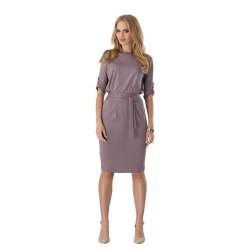 hnědé krátké společenské šaty s rukávky L-XL