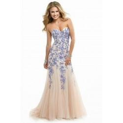 luxusní champagne plesové šaty s modrou krajkou Donatella S-M