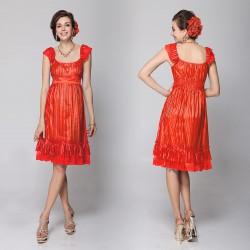 krátké oranžové společenské šaty na ramínka Simona S