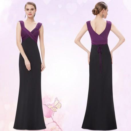 jednoduché černo-fialové elegantní společenské šaty Birne 3XL-4XL