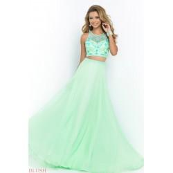 dvoudílné zelené tyrkysové plesové šaty Katharine XS