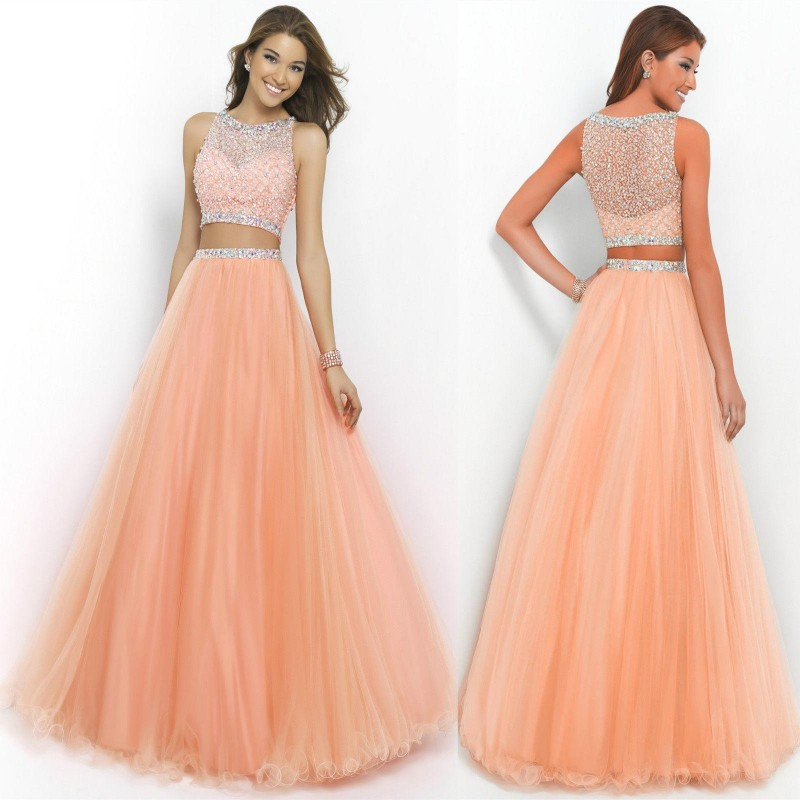dvoudílné lososové plesové šaty Katharine XS - Hollywood Style E ... ca2057cb55e