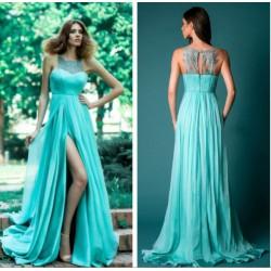 tyrkysové zelené dlouhé společenské letní šaty Triss M
